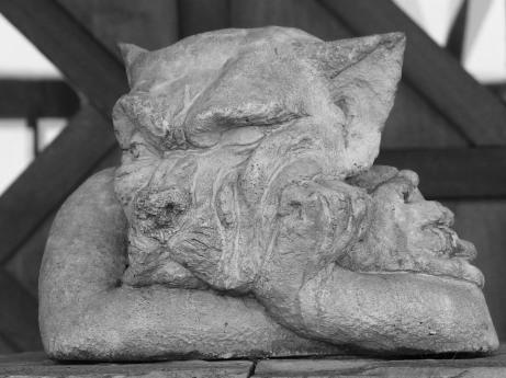 Wolf Dog Bored Grim Statue Sullen Garden Statue