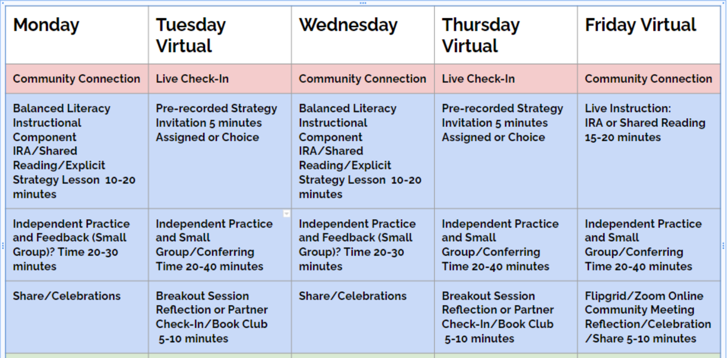Reading schedule bold